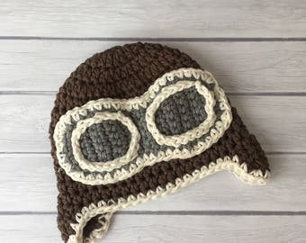 Newborn aviator hat, baby aviator hat, newborn photo prop, baby boy hat, pilot hat, crochet aviator hat, aviator goggles, aviator hat baby