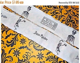 HALLOWEEN Hand Stamped Fabric Trim - Scrapbooking - Danse Macabre Skeletons
