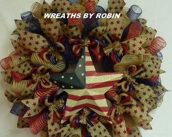 10% OFF Patriotic Rustic Burlap Star Wreath, Burlap Deco Mesh Wreath (2044)