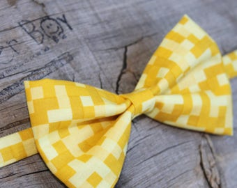 Pixelated shades of Yellow bow tie for little boys - photo prop, ring bearer, wedding