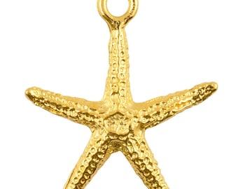 Casting Charm-23x25mm Starfish-Gold-Quantity 1