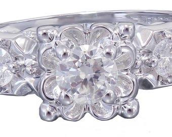 14k White Gold Round Cut Diamond Engagement Ring Art Deco Antique Style, Wedding, Bridal, Anniversary, Prong, Natural Diamonds  0.60ct