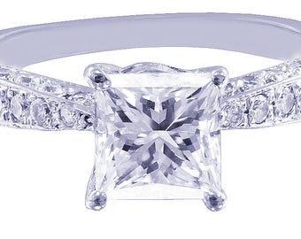 14k white gold princess cut Moissanite diamond engagement ring deco Bridal Wedding Anniversary Halo Natural Diamonds 2.20tw