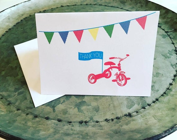 Tricycle Thank you Cards Trike Cards