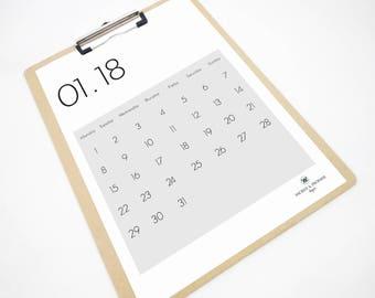 More Grey Printable Calendar, 2018 Calendar, Monthly Calendar, Wall Calendar, 2018 Planner, Desk Calendar, Gift for Boss, Student Gift, PDF