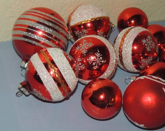 Vtg Christmas Glass Ornaments