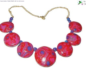 """Lights lenses"" necklace, sparkling, polymer clay, handmade creation plain"