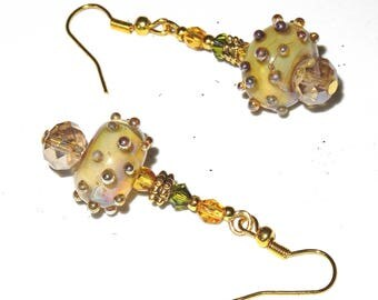 Multicolor earrings with pearls of art spun with torch, crystal tops