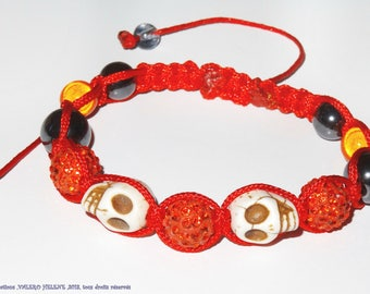 Bracelet shamballa orange and vermilion, crystals, skulls, hematites