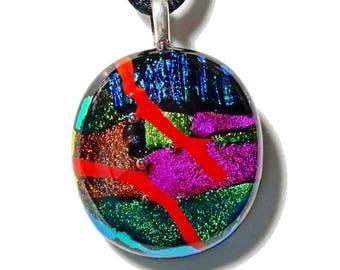 Necklace light, cabochon multicolor handmade dichroic glass, unique piece