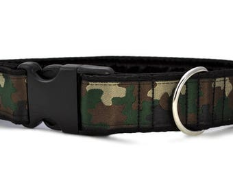 "Ready-to-Ship: Camo Jacquard - 1.5"" Buckle Collar - LARGE - Nickel Plated Hardware"