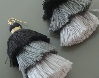 Tassel Earrings - Tiered Tassel Earrings - Statement Earrings - Black Ombre Earrings - Long Earrings - Gold Earrings - handmade