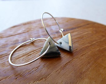 White Gold Lined Triangle Hoop Earrings in Black Marble Special Xmas Price
