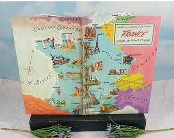 Travel Sale France Map Travel Writing Journal from Vintage American Geographical Society Colorful School Map