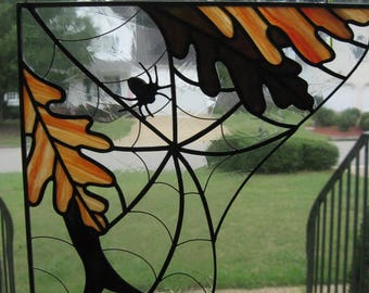 Stained Glass Autumn leaves and Spider web corner sun catcher