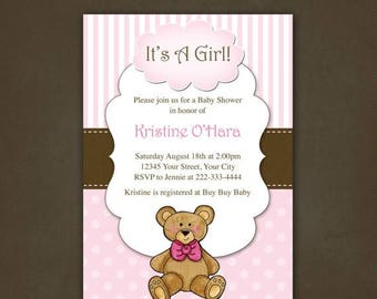 ON SALE Girls Teddy Bear Baby Shower Invitation Printable File
