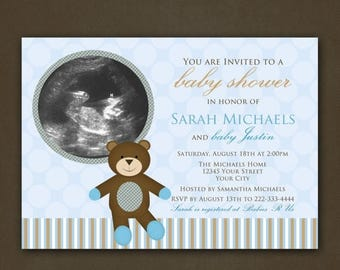 ON SALE Teddy Bear Baby Shower Photo Invitation for Boy