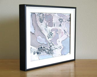 Small framed original watercolor, pale purple abstract art, Albicant Cloud