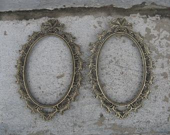 """oval metal frame set gold and black metal frames 4 """" by 6 """" filligree hollywood regency frames"""