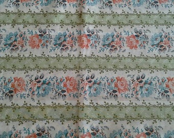Striped Floral Print Silky Synthetic Fabric 1 3/4 Yards X1154