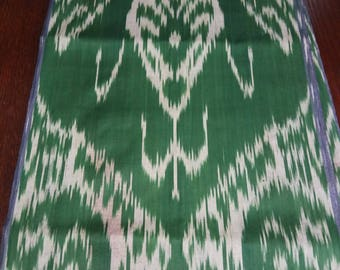 Uzbek traditional green cotton woven ikat fabric by meter. Tribal, ethnic, boho fabric