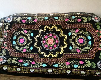 Vintage Uzbek silk embroidery on velvet suzani. Bed cover, wall hanging, home decor suzani. SW007