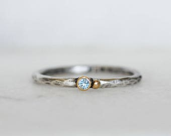 Tiny Aquamarine Seed Stacking Ring - 18k Yellow Gold and Sterling Silver