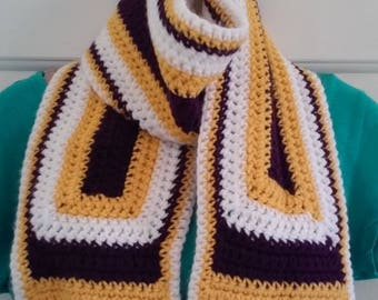 Purple, Gold and White Crocheted Scarf - Great for Minnesota Vikings NFL Football Fans