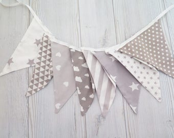 Fabric banner , stars banner ,stars and stripes , boy room banner , fabric garland , gray banner