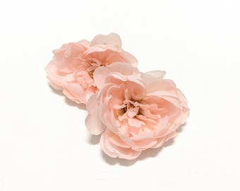 2 BLUSH Pink Peonies - 4 Inches - Artificial Flowers, Silk Flowers, DIY Wedding, Flower Crown, Hair Accessories, Bouquet, Millinery, Hat