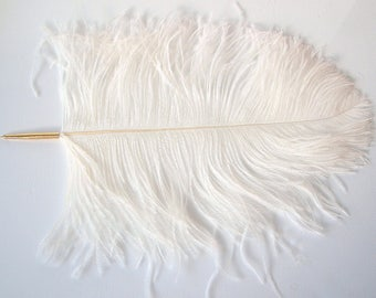 Large Ostrich Feather deluxe ballpoint Pen - Ivory