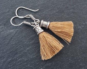 Mini Sandy Beige Tassel Drop Earrings Bohemian Boho Style Light Comfortable Daytime Jewelry Authentic Turkish Style - FREE SHIPPING