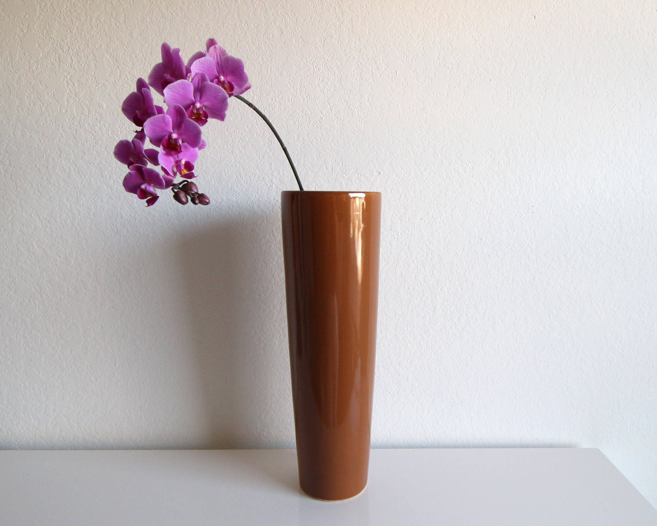 Vintage vase tall large 1980s caramel brown ceramic floor vase reviewsmspy