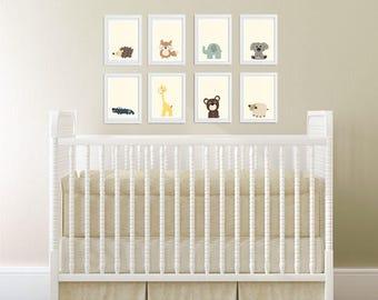 Modern Nursery Decor, Baby Animal Prints, Safari Nursery Print Set, Safari Nursery Art, Levtex Zambezi, Baby Safari Animals Decor, Baby Room