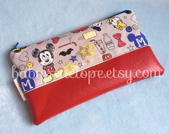 Mickey/ Minnie Cosmetic Bag - Pencil Case - Back to School - Mickey - Minnie  - Red Minnie and Mickey - Ready to Ship