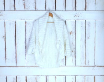 Vintage 90s ivory/off white chunky woven knit cocoon sweater/chunky knit shrug cardigan/knit cover up