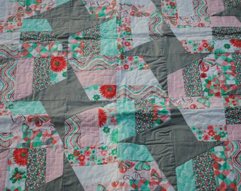 Coral Butterfly Girl Quilt