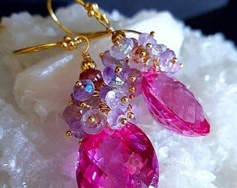 Summer Sale Pink Topaz Rose de France Gemstone Cluster Statement Earrings Gift for Her
