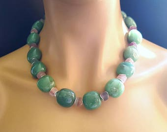 Green Adventurine with Shaded Matte Fluorite Statement Necklace Gift for Her