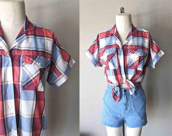 Vintage 90's plaid shirt RED, WHITE, and BLUE double pocket short sleeve = M