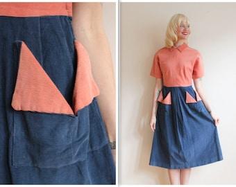 1940s Dress // Two Tone Corduroy Dress // vintage 40s dress