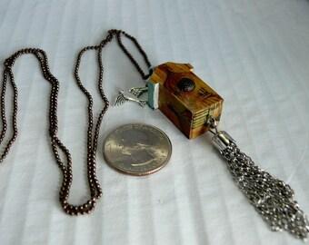 OOAK Birdhouse Necklace, Handmade, Multi-color, from Bluebird Creations, Item #2023