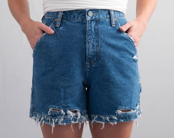 Vintage NY Jeans Denim Cutoffs * Reworked Cargo Distressed Ripped Frayed Shorts High Hi Rise * Size 6 / Small / Waist 27 * FREE SHIPPING