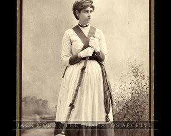 Unusual cabinet card of ID'd girl holding broom - advertising ? <> Sister of New York Mayor