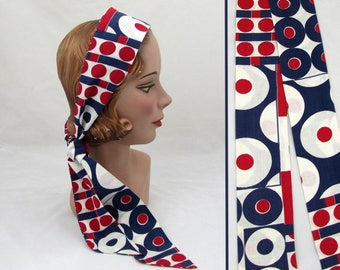 """Red White & Blue Mod scarf - 56"""" x 3""""  Cotton - Waist belt - 1960s-70s Boho, Hippie"""