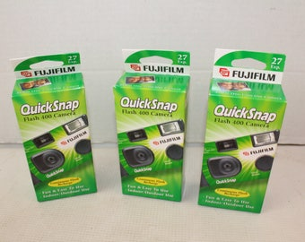 Lot of 3 Vintage Fuji Film Quick Snap Camera Flash 400 expired disposable