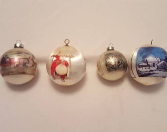 Lot of 4 Vintage Christmas Ornaments - Currier & Ives Hallmark Rockwell 1970's