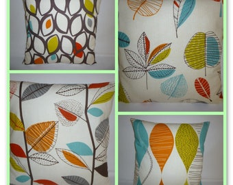 """FOUR Orange Pillow Covers 4 Mix Match Designer Floral Cushion Throw Shams Slips Scatter 16"""""""