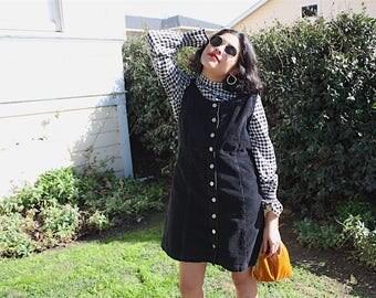 Vintage 90s black corduroy sleeveless mini dress / M