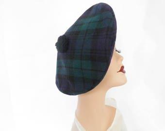 Vintage beret tilt hat, plaid tam, blue green wool